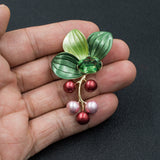 Pretty Rhinestone Crystal Enamel Leaves Grape Brooch  04705 - sepbridals
