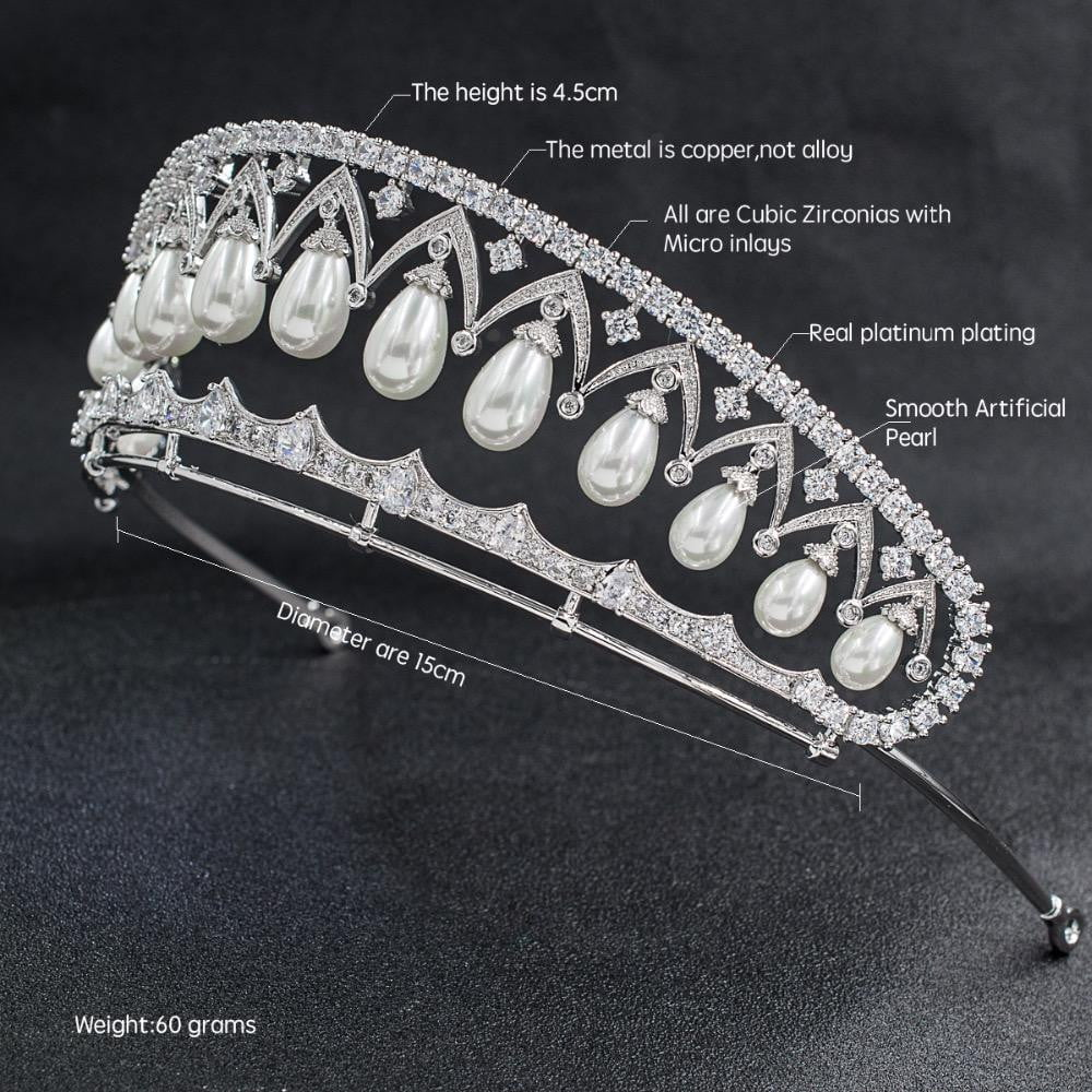 Cubic zirconia wedding  bridal royal tiara diadem crown CH10080 - sepbridals