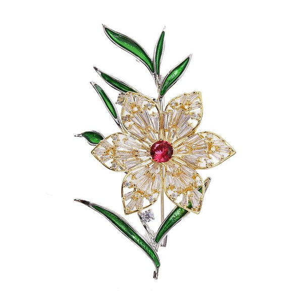 Crystal Cubic Zirconia Multicolor Flowers Brooch  HR03962 - sepbridals