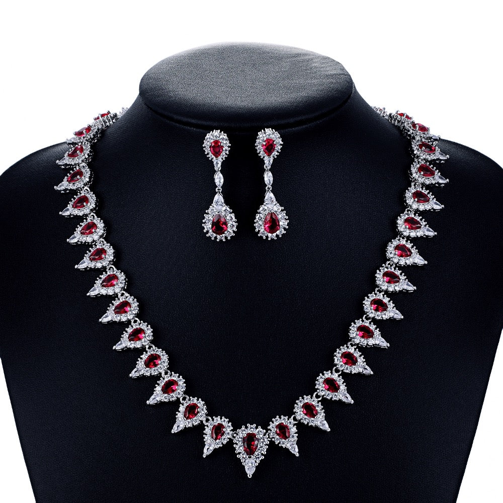 Cubic zirconia bride wedding necklace earring set top quality CN10063 - sepbridals