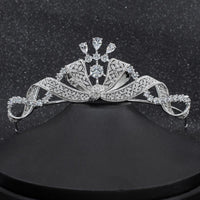 CZ Cubic Zirconia Wedding Bridal Bow Tiara Diadem Hair Jewelry CH10261 - sepbridals