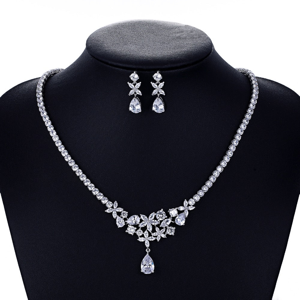 Cubic zirconia bride wedding necklace earring set top quality  CN10039 - sepbridals