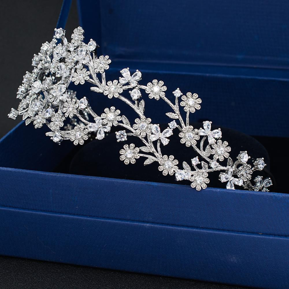 Cubic zircon wedding  bridal royal tiara diadem crown TGH001 - sepbridals