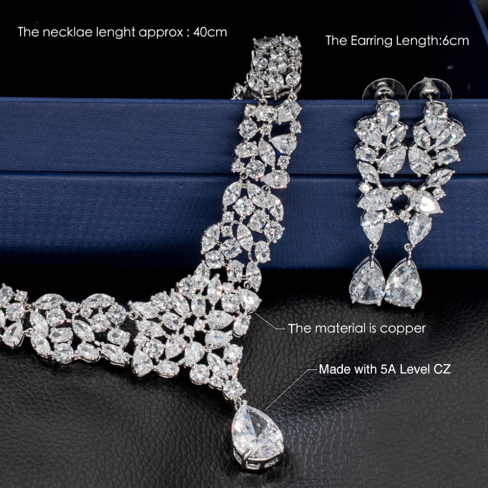 Cubic zirconia bride wedding necklace earring set top quality CN10087 - sepbridals