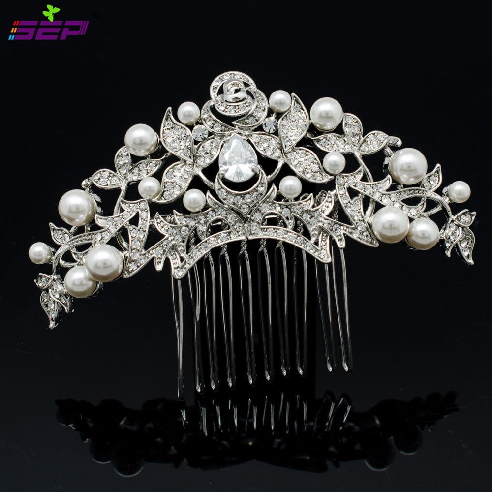 Crystals Rhinestone Zircon CZ Bridal Wedding Veil Hair Comb CO1468R1 - sepbridals