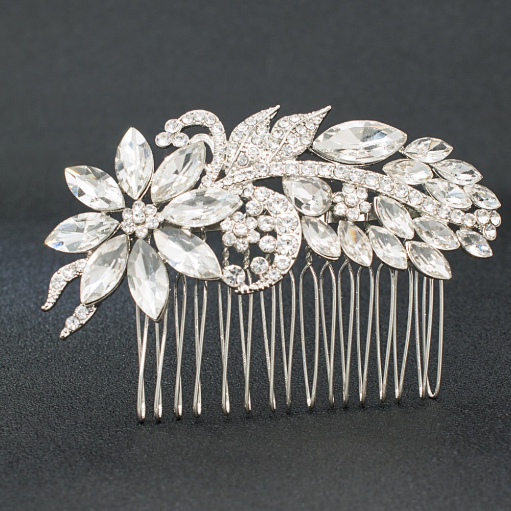 Rhinestone Crystals Wedding Bridal Leaves Hair Side Comb GT4402 - sepbridals
