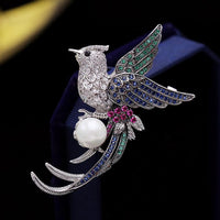 Art Vintage Micro Pave CZ Flying Phoenix Profile Brooch HR02527 - sepbridals