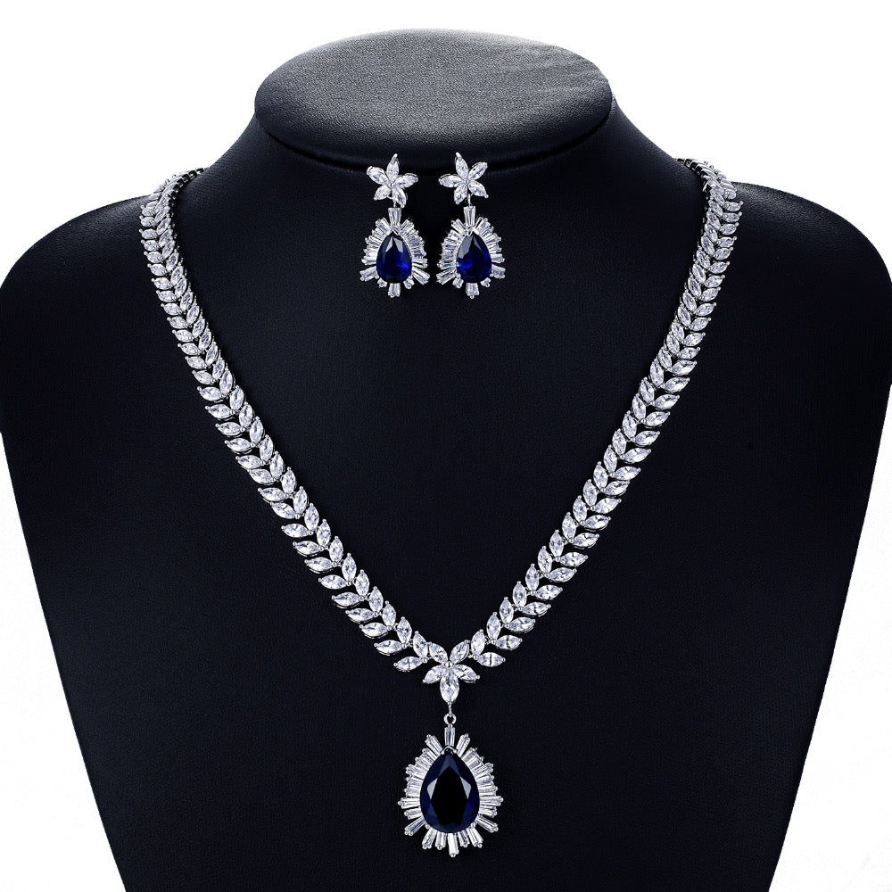 Cubic zirconia bride wedding necklace earring set top quality  CN10048 - sepbridals
