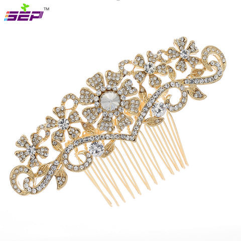 Flower Hair Combs Attractive Bridal Hairpin Rhinestone Wedding Accessories CO1448R - sepbridals