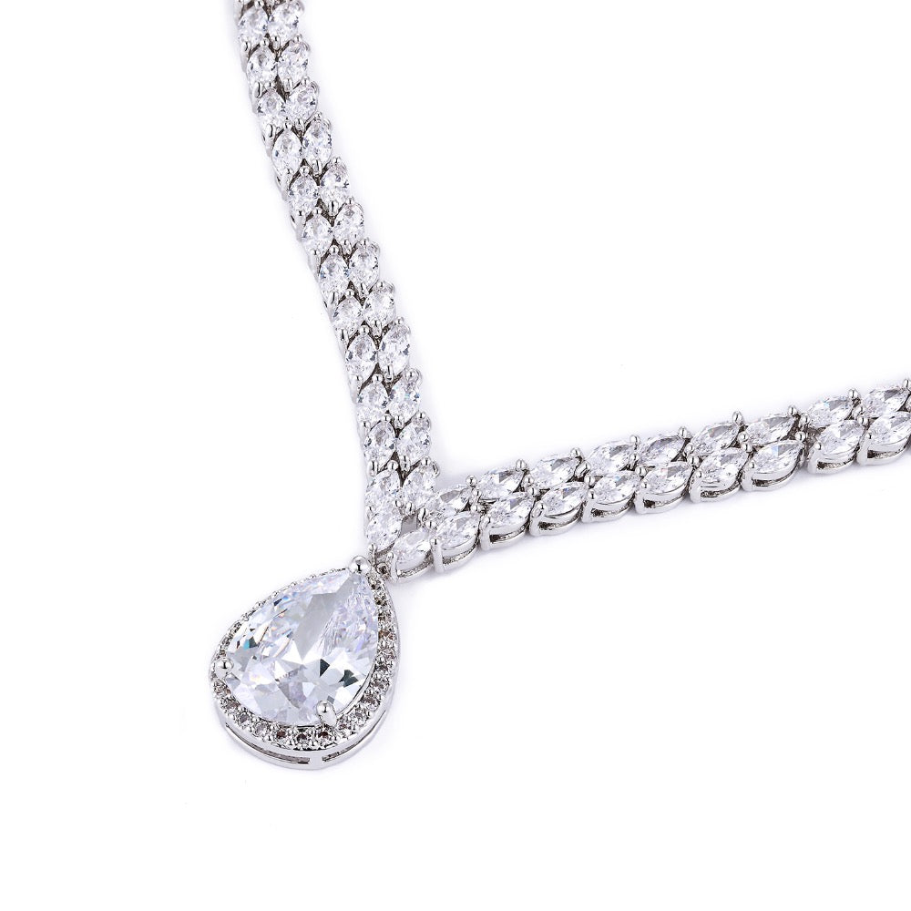 Cubic zirconia bride wedding necklace earring set top quality CN10052 - sepbridals