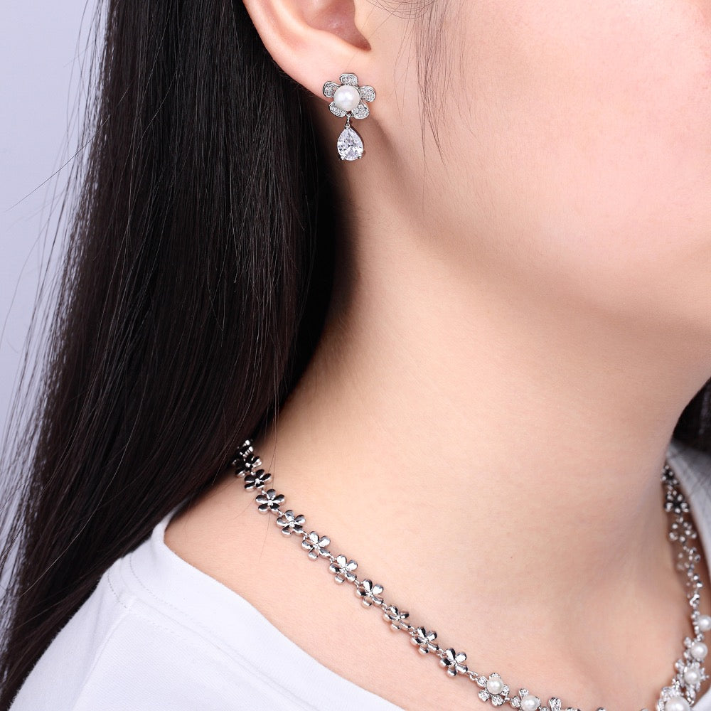 Cubic zirconia bride wedding necklace earring set top quality  CN10034 - sepbridals