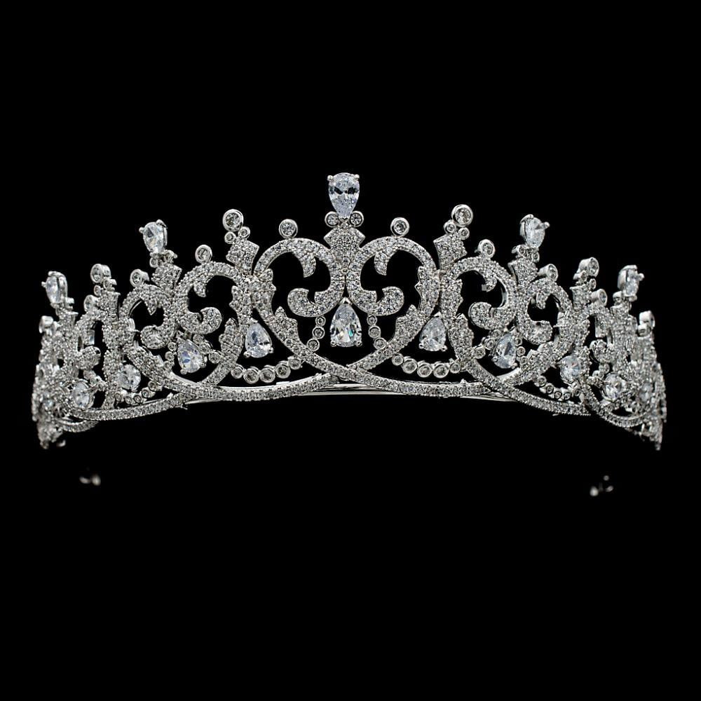 Cubic zircon wedding bridal tiara diadem hair jewelry S16417 - sepbridals