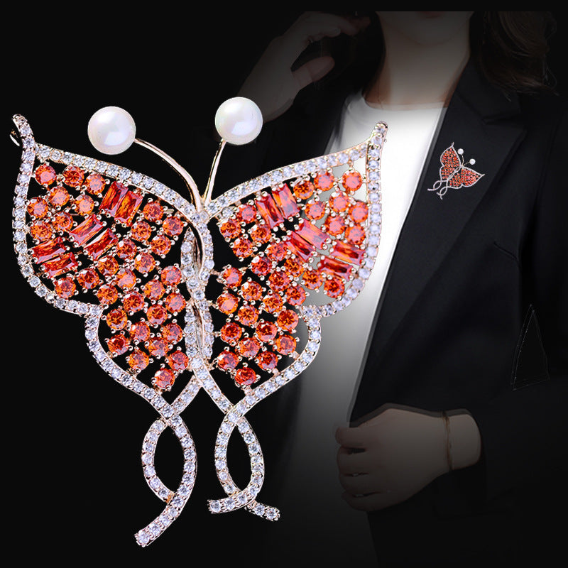 Luxury Red CZ Cubic Zircon Butterfly Brooch XR04212F - sepbridals