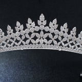 Red-Kapok Classic Cubic Zirconia Wedding Leaves Bridal Tiara Crown  S16285 - sepbridals