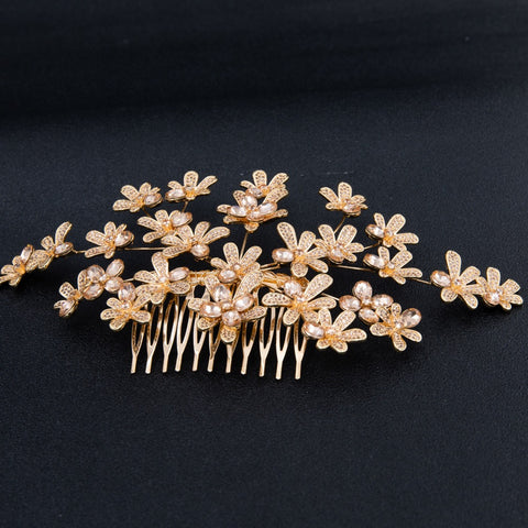 Gold Crystal Cubic Zirconia Bridal Wedding Soft Headband Hairband Tiara THG005GOL - sepbridals