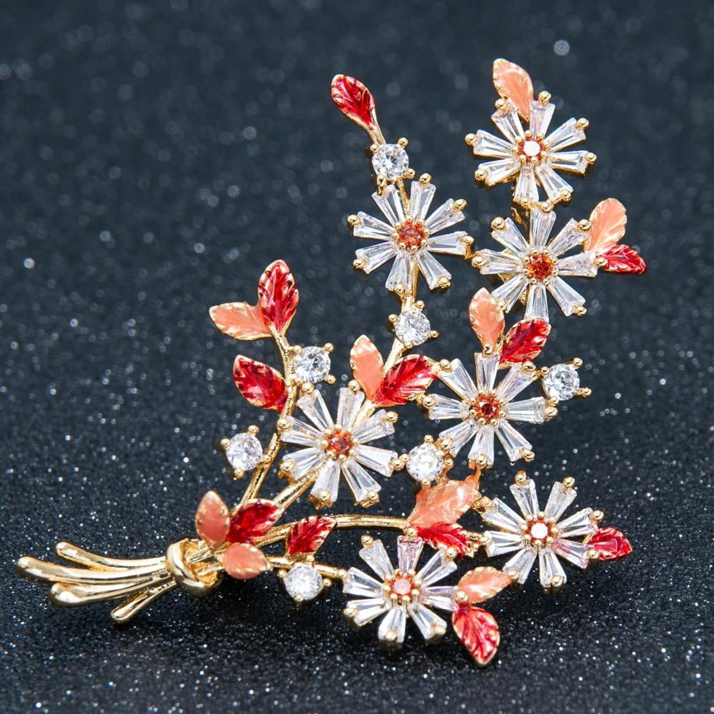 Crystal Cubic Zirconia Flower Brooch  A01919 - sepbridals