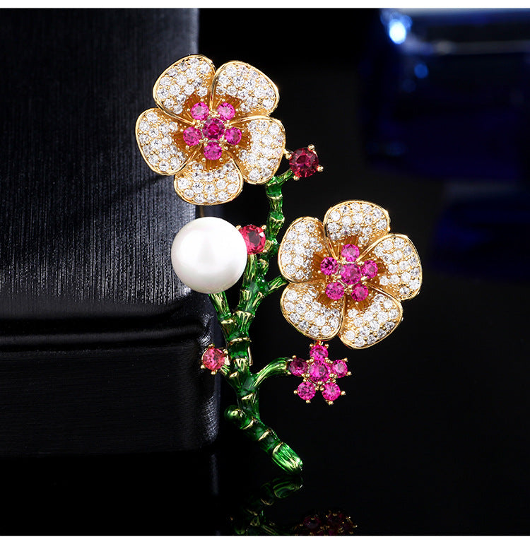 Imitation Pearl Cubic Zircon Flower Suit Brooches AB050 - sepbridals