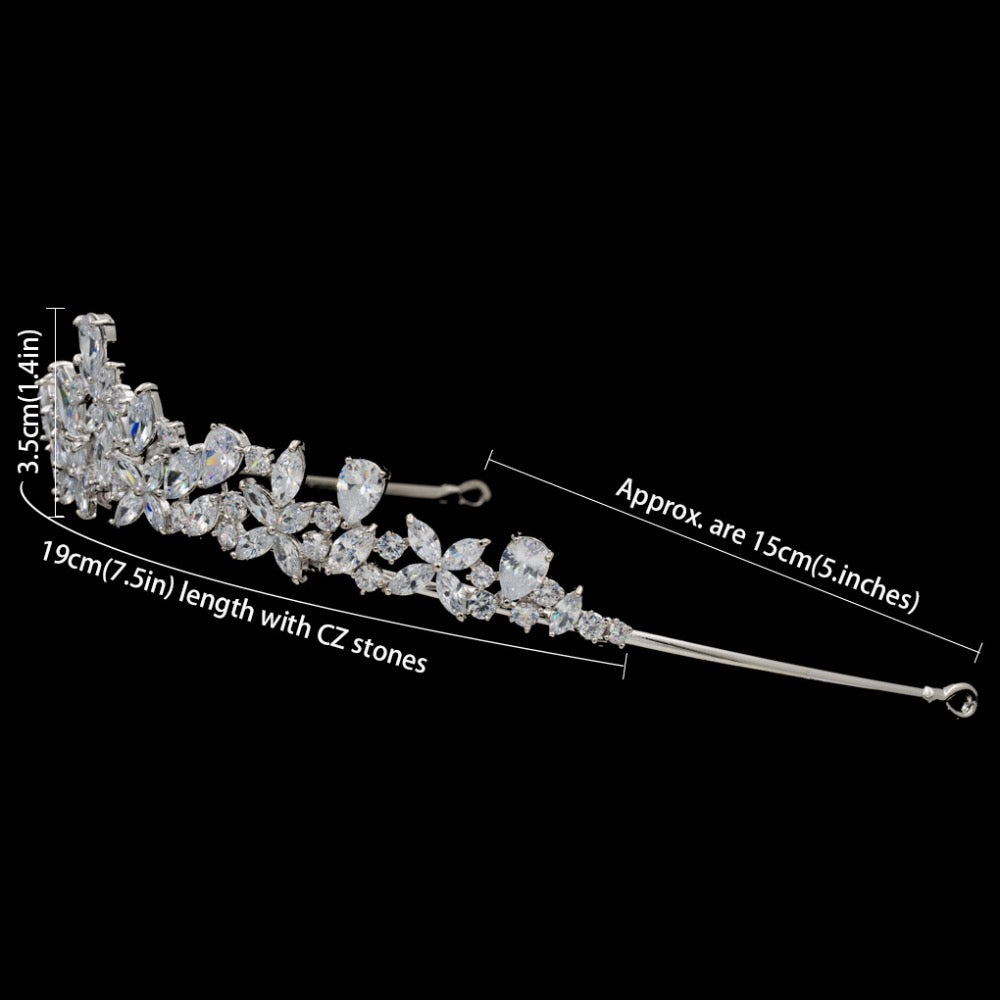 Cubic zircon wedding bridal tiara diadem hair jewelry HG0056 - sepbridals