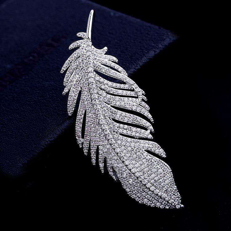 Bridal Fashion Cubic Zircon Micro Paved Elegant Feather Brooch 001556 - sepbridals