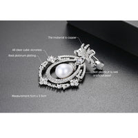 Silver Tone Cubic Zirconia Royal Brooch Pin XR02051 - sepbridals