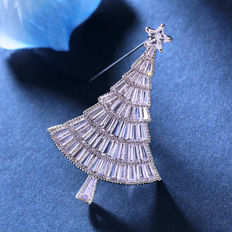 luxury Bridal CZ Cubic Zircon Christmas Tree Brooch wx0024 - sepbridals