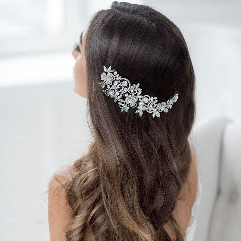 Long Flower  Comb Wedding  Rhinestone Crystals Bridal Hairpin Headpieces FA5027 - sepbridals
