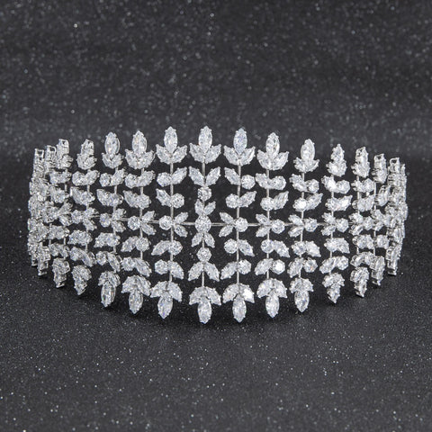 Cubic zirconia bridal wedding soft headband hairband tiara  CHA10005 - sepbridals