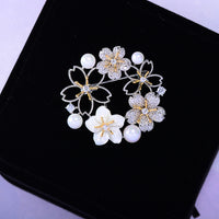 Personality Shell Pearl Retro Wreath Flower Brooch XR04374 - sepbridals