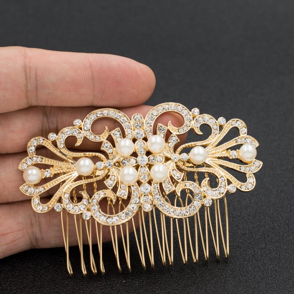 Classic Design Rhinestone Crystals Wedding Bridal Hair Side Comb GT4393 - sepbridals