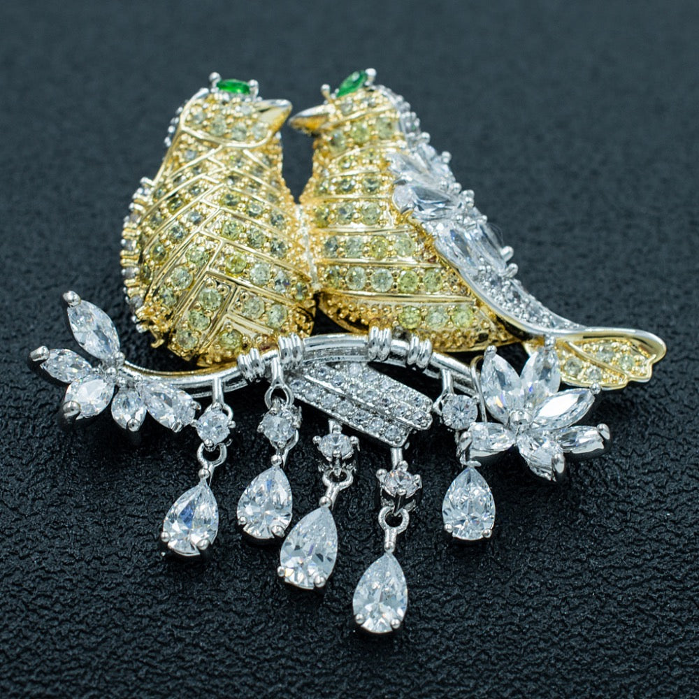 Lovely Cubic Zirconia Love Birds Animal Brooch HR02352 - sepbridals