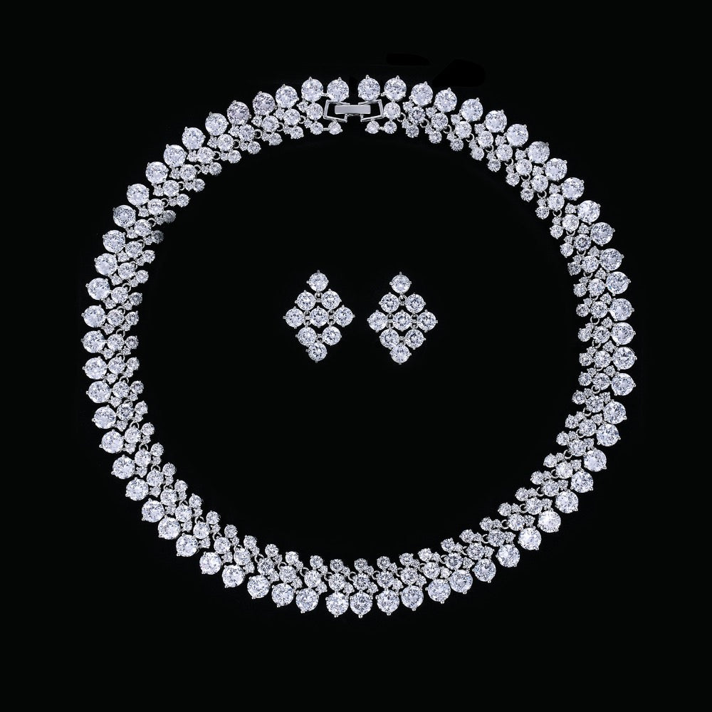 Cubic zirconia bride wedding necklace earring set top quality  CN10007 - sepbridals
