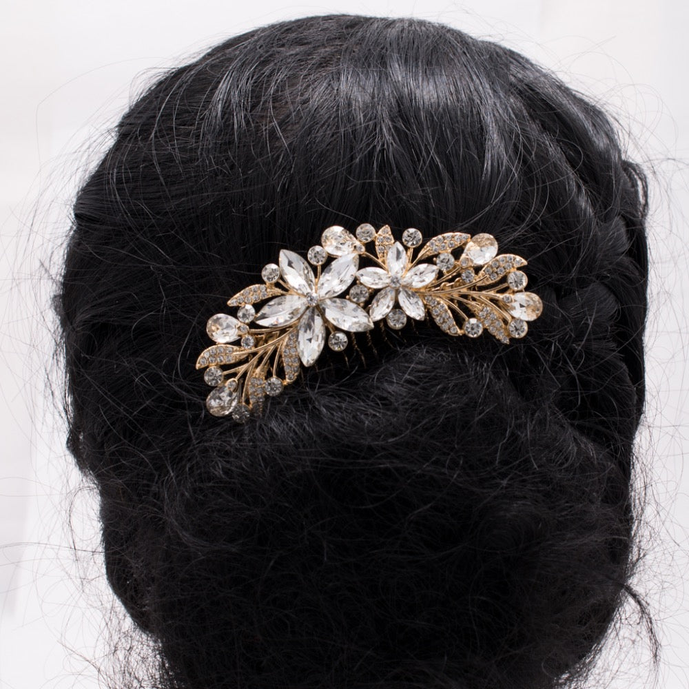 Rhinestone Crystals Flower Wedding Bridal Hair Side Comb GT4392 - sepbridals