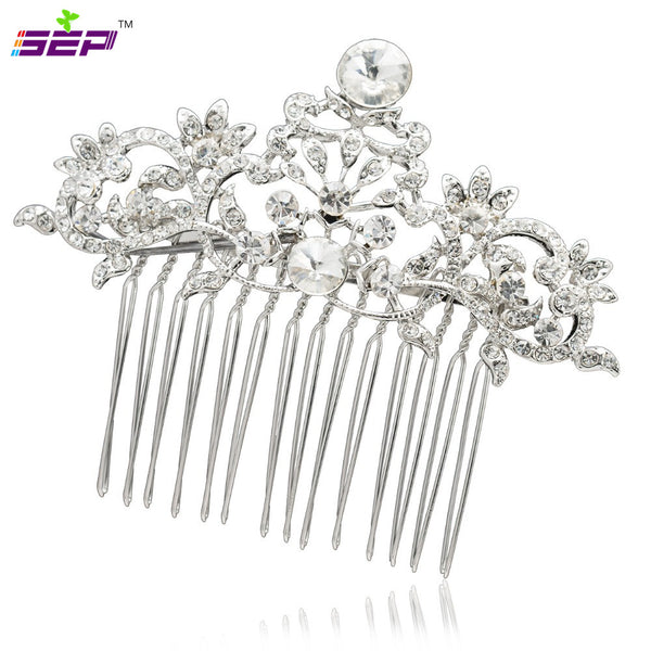 Rhinestone Crystals Bride Hairpins Clear Hair. Veil Combs CO2260R