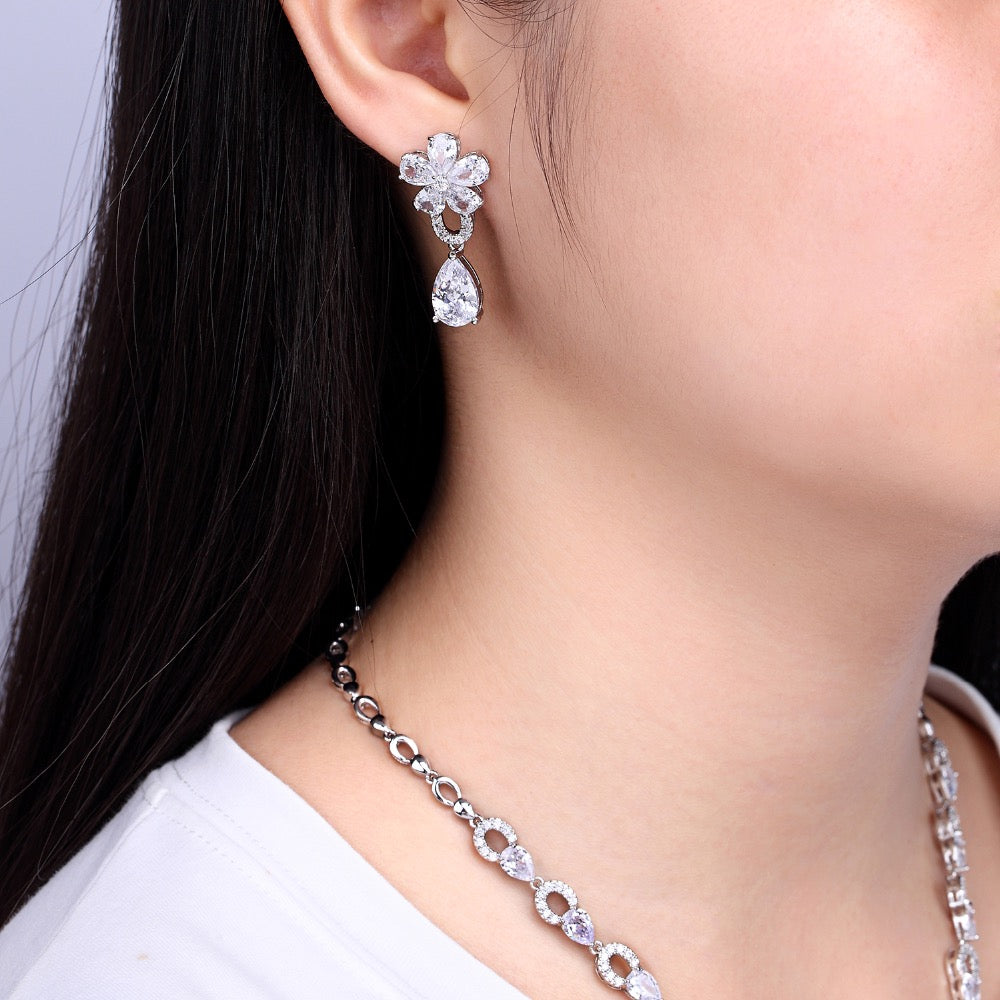 Cubic zirconia bride wedding necklace earring set top quality CN10114 - sepbridals
