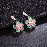 Multicolors CZ Cubic Zirconia Flower Dangle Bridal Wedding Earring  CE10242 - sepbridals
