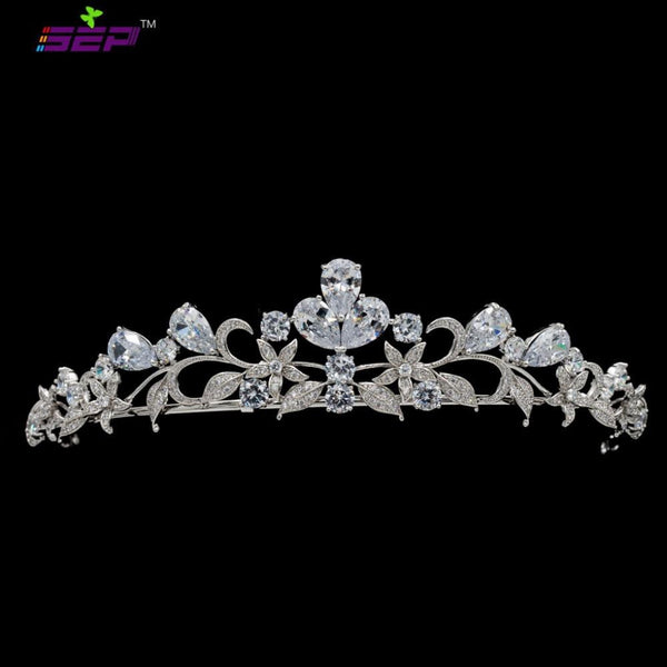 Cubic zircon wedding  bridal royal tiara diadem crown HG0063 - sepbridals