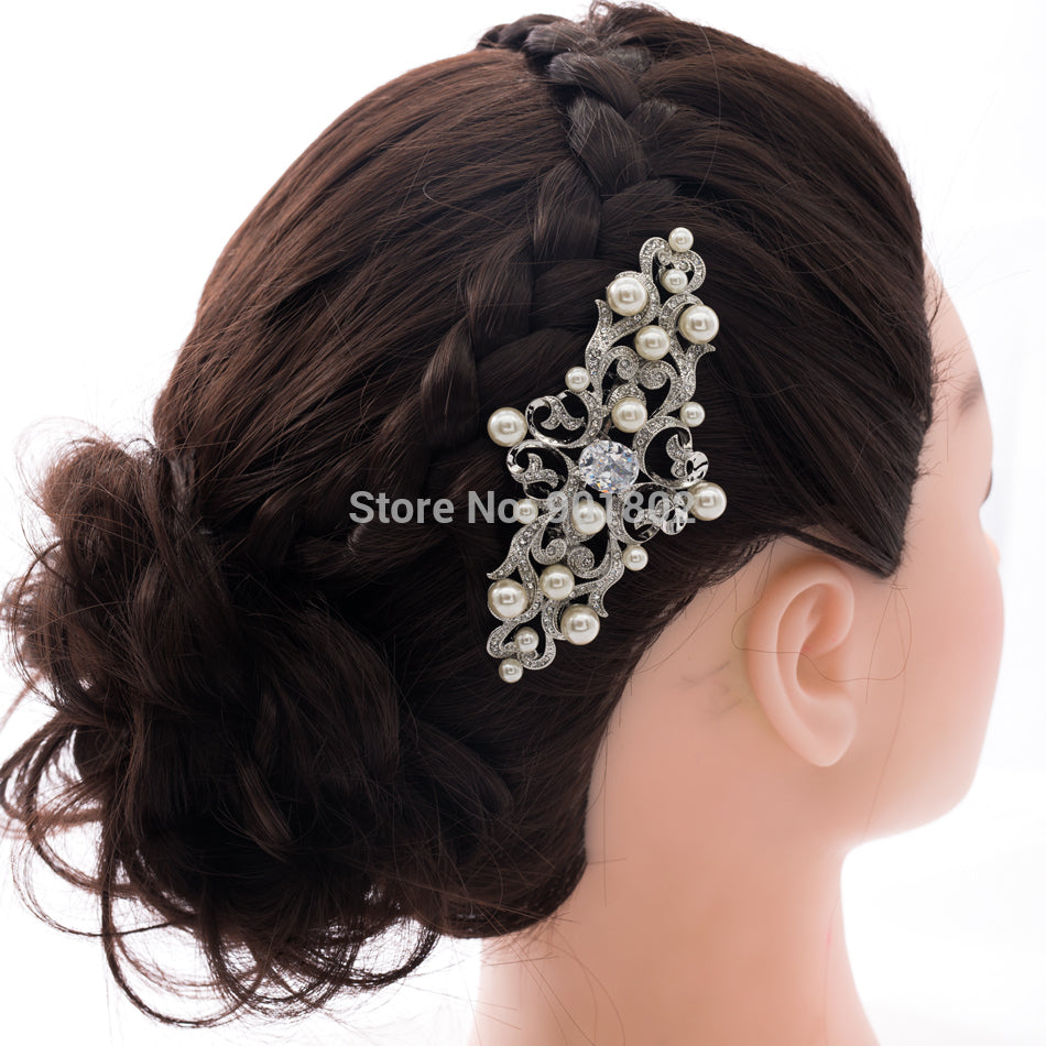 Vintage Style Rhinestone Crystals Hair Veil Comb CO1467R1 - sepbridals
