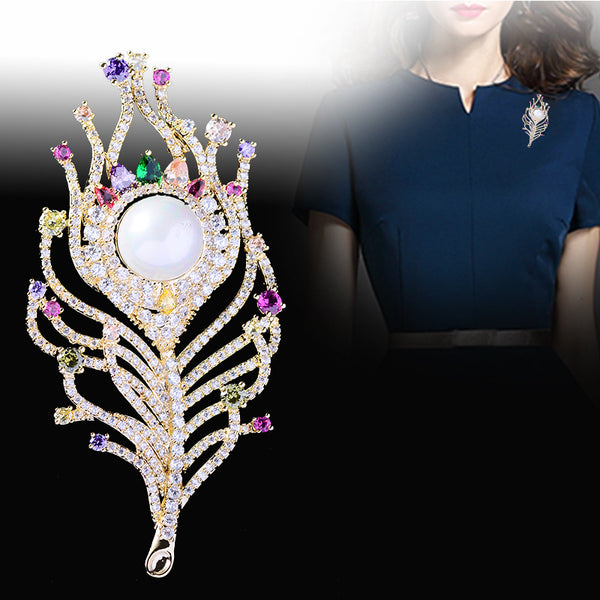 Elegant Cubic Zircon Pearl Feather Brooch Pin 3175