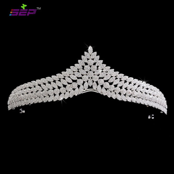 Cubic zircon wedding bridal tiara diadem hair jewelry S16238 - sepbridals