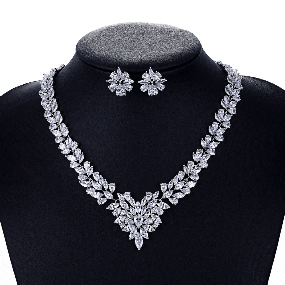 Cubic zirconia bride wedding necklace earring set top quality CN10009 - sepbridals