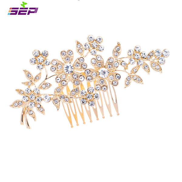 Rhinestone Crystals Zinc Alloy Hair Combs Hairpins For Bridal Wedding COXBY080 - sepbridals