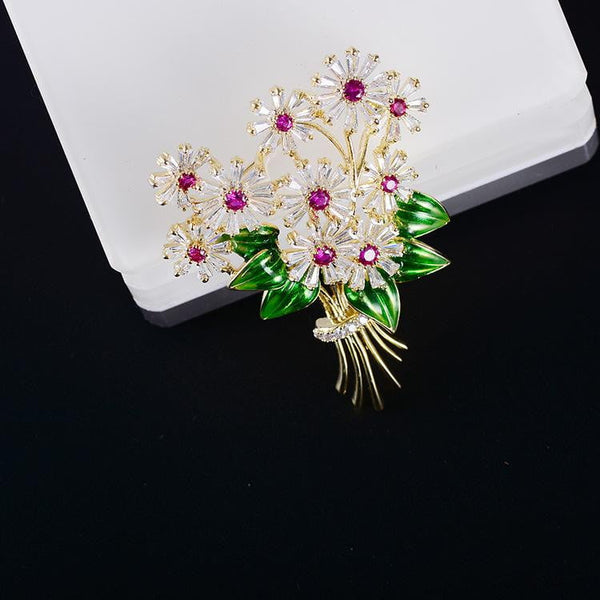 Crystal Cubic Zirconia Flower Brooch Broach Pin XR04014 - sepbridals