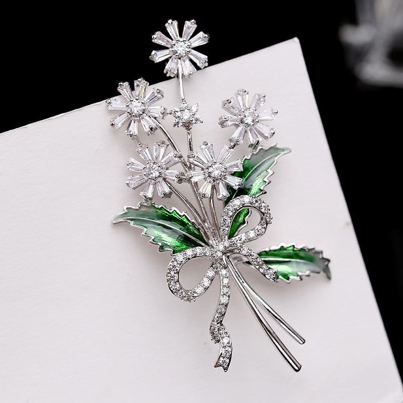 Crystal Cubic Zirconia Flower Brooch Broach Pin HR04092 - sepbridals