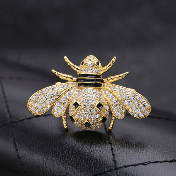 Gold & Silver Fashion AAA Zircon Insect Bee Brooch 002557 - sepbridals