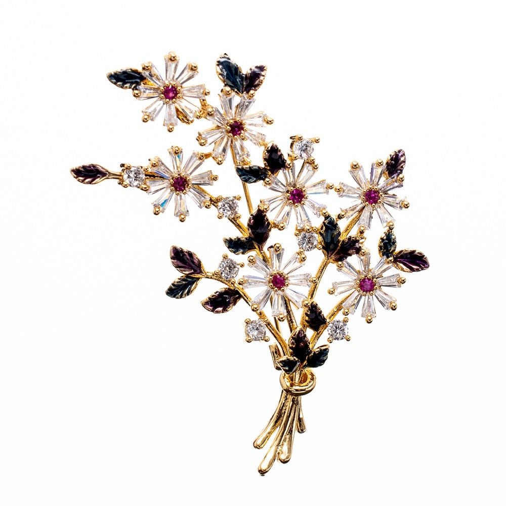 Red-Kapok Crystal Cubic Zirconia Flower Brooch Pins for Shoes Jewelry XR04022 - sepbridals