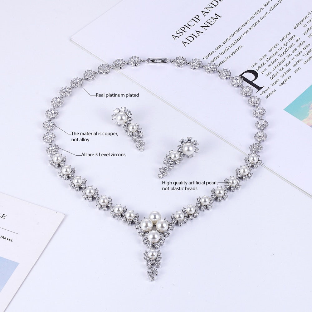 Cubic zirconia bride wedding necklace earring set top quality CN10055 - sepbridals