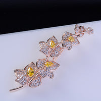 Fashion Cubic Zircon Micro Paved Elegant Maple Leaf Brooch   111 - sepbridals
