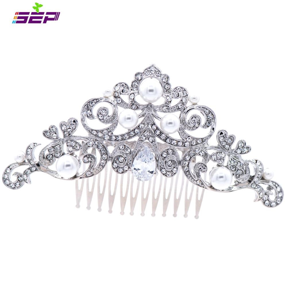 Crystals Rhinestone Imitation Pearls Hair Comb  For Bridal Wedding COFA5039 - sepbridals
