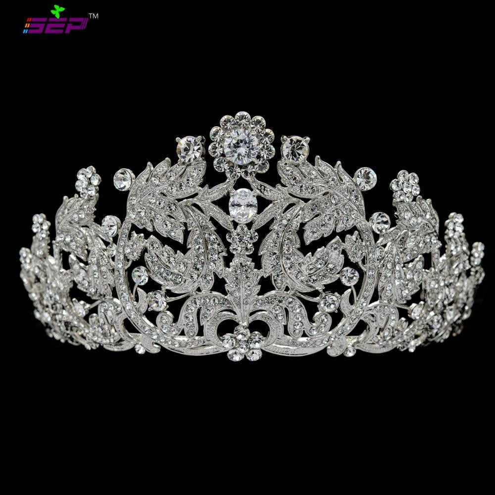 Austrian crystals wedding bridal royal leaves tiara diadem JHA8318 - sepbridals