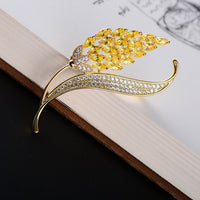 Gold Cubic Zirconia Leaf Broach Wheat Brooch  XR03824D - sepbridals
